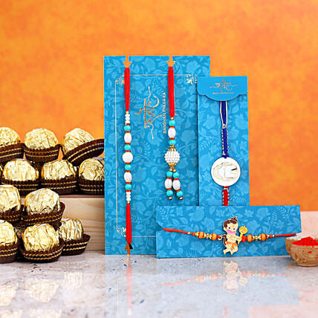 Kids Rakhi Combo And Pearl Lumba Rakhi Set With 16 Pcs Ferrero Rocher