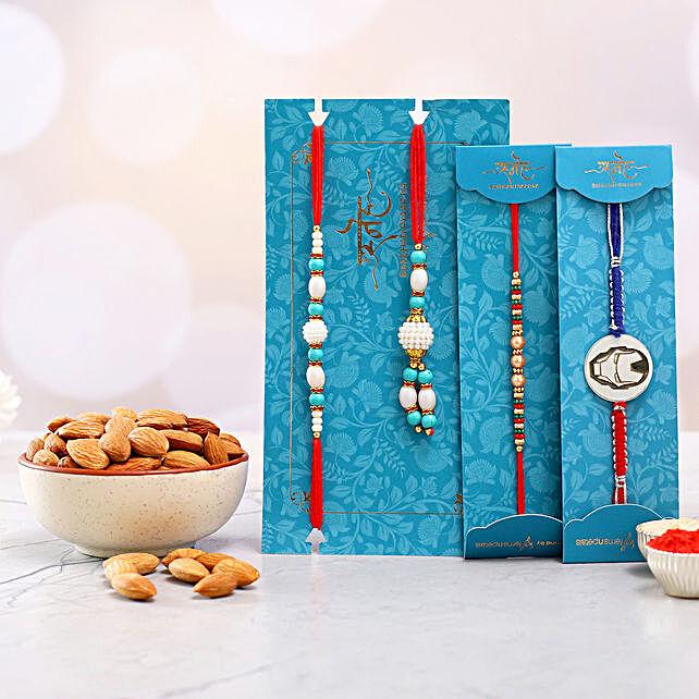 Kids Rakhi Duo And Blue Lumba Rakhi Set With Healthy Almonds