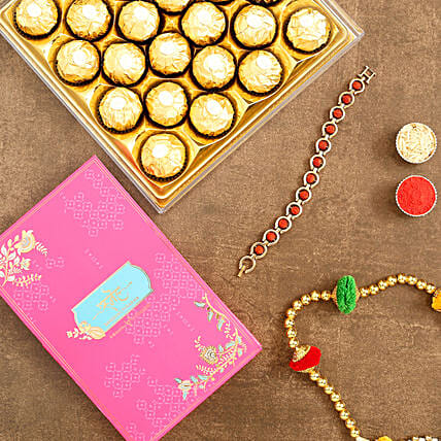 Spiritual Rudraksha Bracelet Rakhi And 16 Pcs Ferrero Rocher