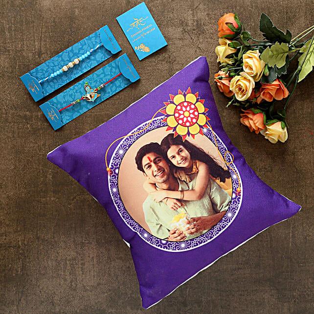 2 Traditional Rakhis And Personalised Cushion