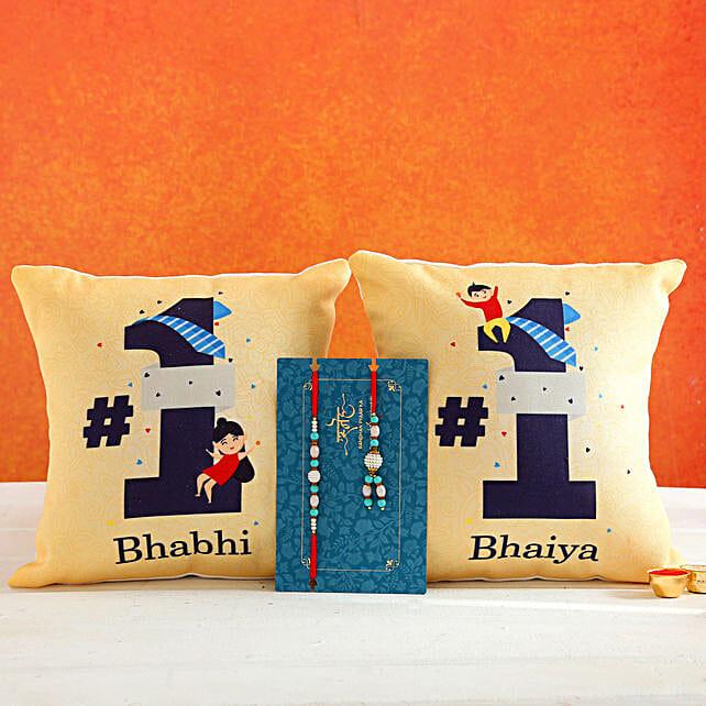 Blue Lumba Rakhi Set And 2 Bhaiya Bhabhi Cushions