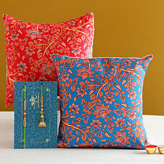 Green Lumba Rakhi Set And 2 Floral Print Cushions