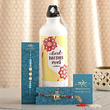 2 Traditional Rakhis And Personalised Bottle Combo