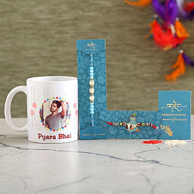 2 Traditional Rakhis And Personalised Mug Combo