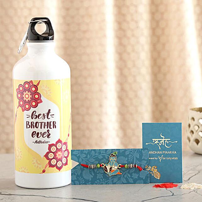 Bal Krishna Kids Rakhi And Personalised Bottle Combo