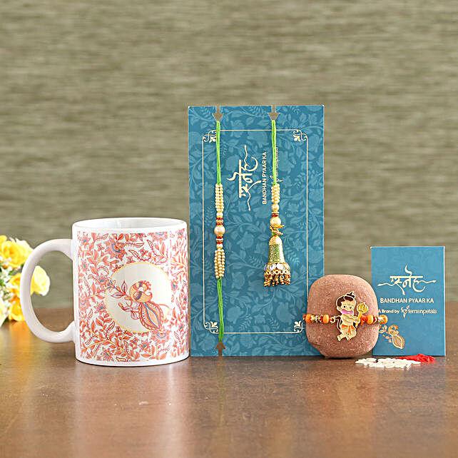 Green Lumba Set And Bal Hanuman Rakhi With Mug:Set of 3 Rakhi Delivery in Saudi Arabia
