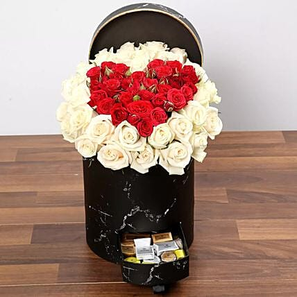 Peach and Red Rose Box With Patchi Chocolates