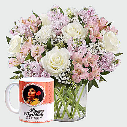 White Roses And Personalised Mug:Flower Delivery in Jeddah
