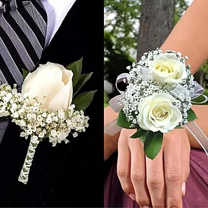 White Roses boutonniere and Corsage