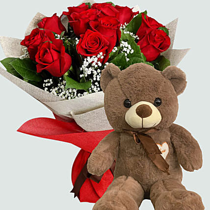 12 Red Roses with Brown Teddy Bear