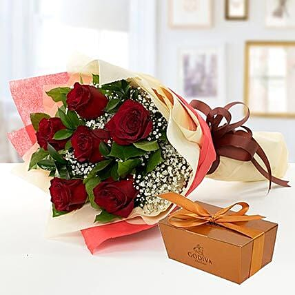 6 Red Roses and Godiva Chocolate Combo:Send Chocolate to Singapore