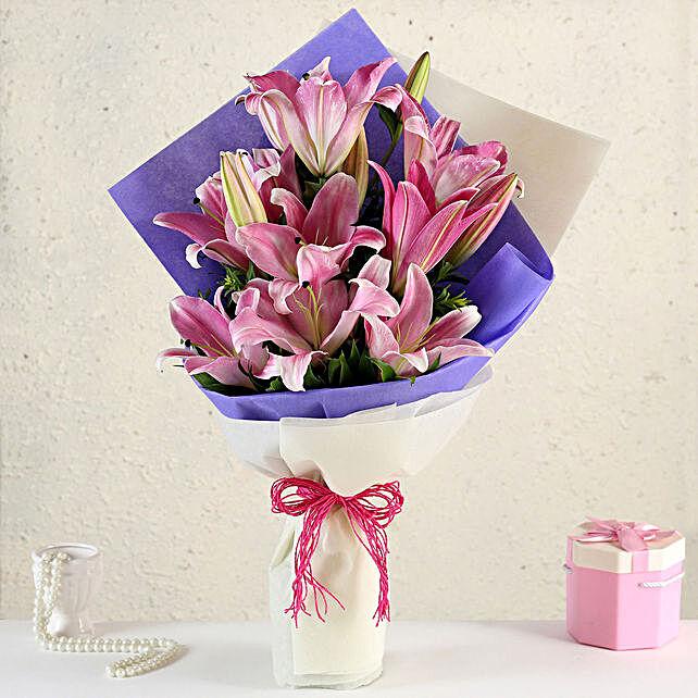 Alluring Pink Oriental Lilies Bouquet