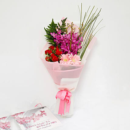 Beautiful Roses and Mokara Orchids Mixed Bouquet:Send Roses to Singapore