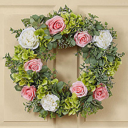 Beautiful Wreath of Roses and Hydrangea