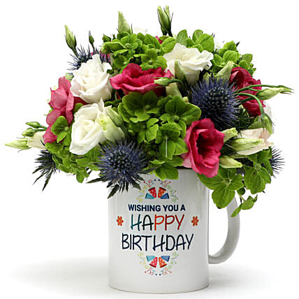 Birthday Wishes Floral Mug Arrangement