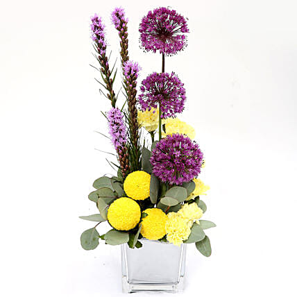 Bright Carnations and Laitris Floral Arrangement:Carnations