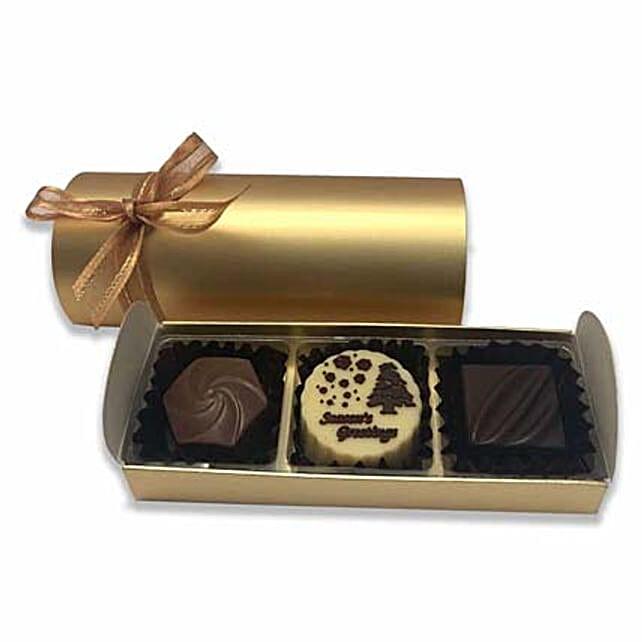 Choco Delight Merry Christmas Treat Box- 3 Pcs:Send Christmas Gifts to Singapore