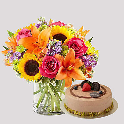 Chocolate Cake and Vivid Floral Vase:Chocolate Cake Delivery in Singapore