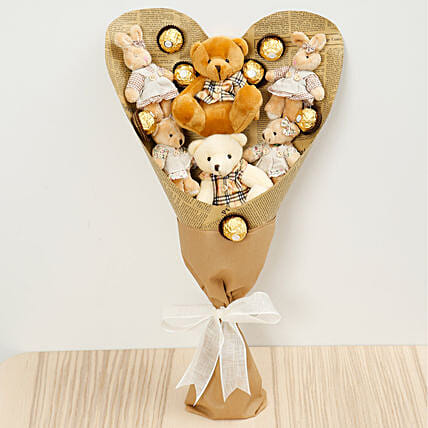 Chocolates and Teddy Bear Bouquet:Send Chocolates to Singapore