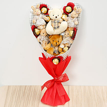 Chocolates and Teddy Bear Heart Shaped Bouquet:Send Chocolate to Singapore