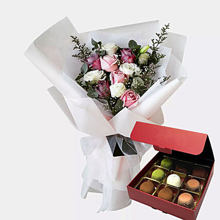 Delicate Flower Bunch And Chocolates:Fruit Baskets to Singapore