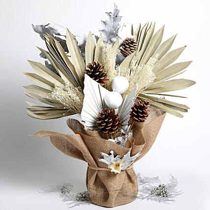 Dried Sunlight Palm and Pinecones Bouquet:Anniversary Flowers to Singapore