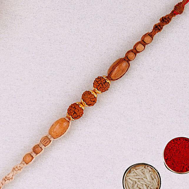 Elegant Red Rudraksh Rakhi:All Gifts