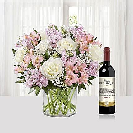 Flower Arrangement With Du Marquis Wine:Roses To Singapore