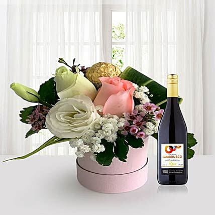 Flowers In Box N Red Wine:Romantic Gifts to Singapore