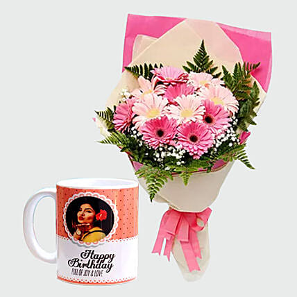Gerberas Bouquet and Personalised Mug:Mugs to Singapore