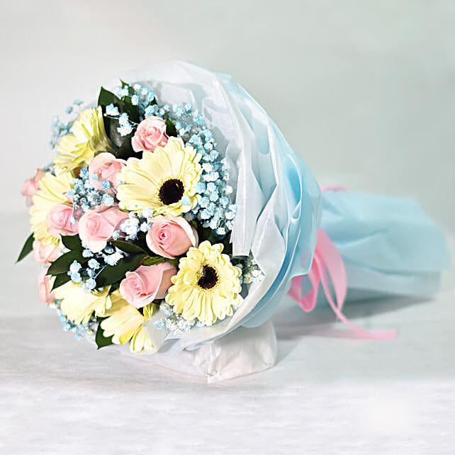 Gerberas & Roses Blossom Bouquet