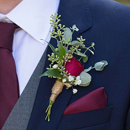 Gorgeous Red Rose boutonniere