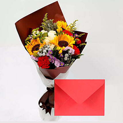 Greeting Card and Beautiful Floral Bouquet