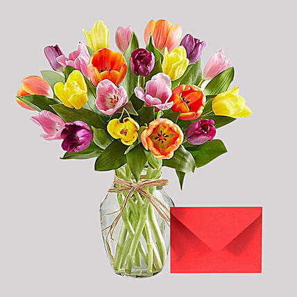 Greeting Card and Colourful Tulips