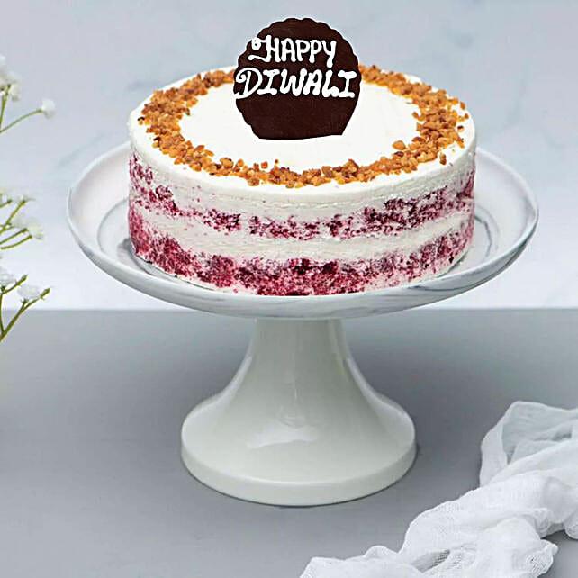 Happy Diwali Red Velvet Peanut Butter Cake