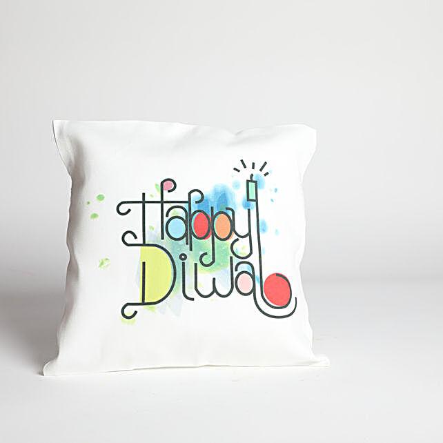 Happy Diwali White Printed Cushion