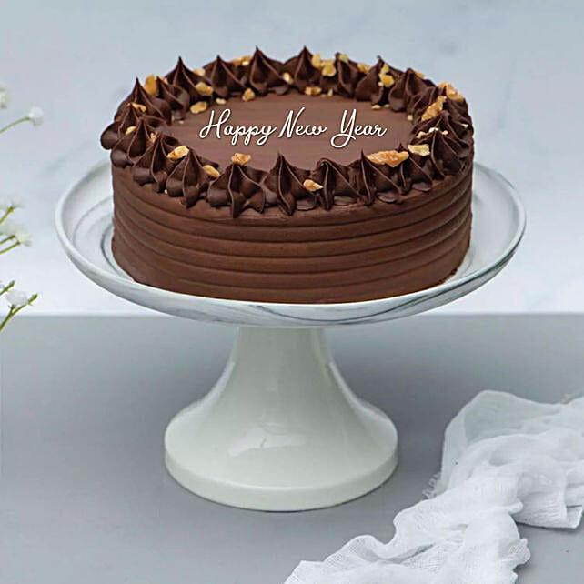 Happy New Year Crunchy Walnut Chocolate Cake
