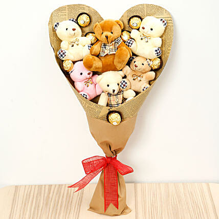Heart Shaped Teddy Bear and Chocolate Bouquet:Send Chocolate to Singapore