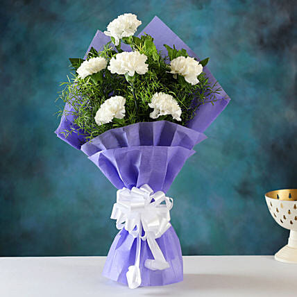 Heavenly White Carnations Bunch