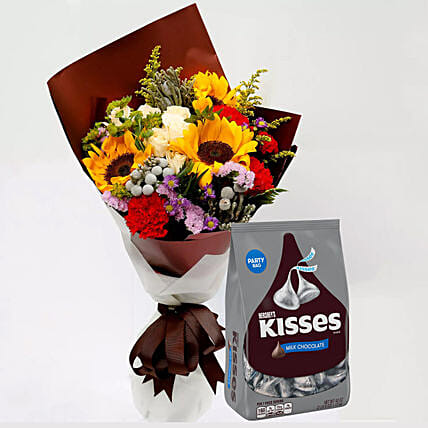 Hersheys Kisses Chocolates and Beautiful Floral Bouquet