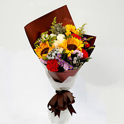 Joyful Bouquet Of Mixed Flowers:Send Carnation Flower to Singapore