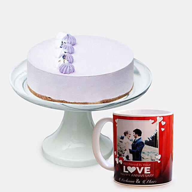 Lavender Earl Cream Cake with Mug