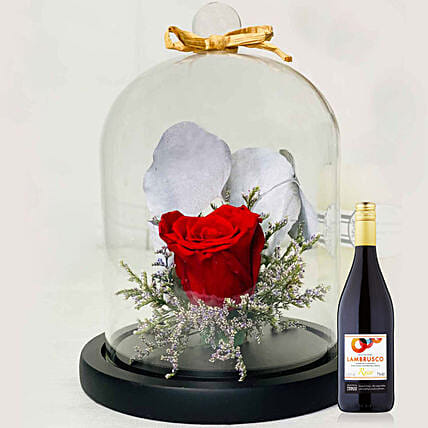 Lovely Red Forever Rose With Tesco Red Wine:Send Forever Roses to Singapore