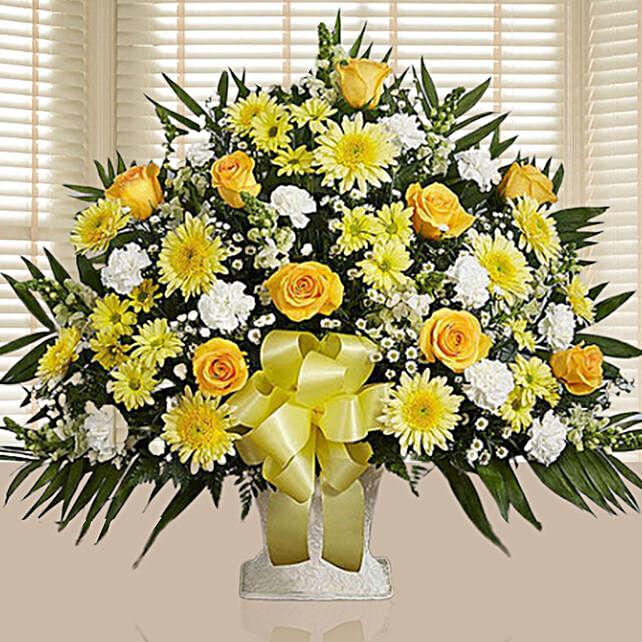 Luxurious Yellow N White Flower Arrangement