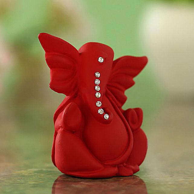 Majestic Stone Studded Ganesha Idol Matte Red