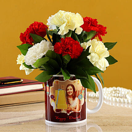 Mixed Carnations In White Mug:Send Mixed Flowers to Singapore
