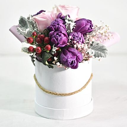 Mixed Flowers In White Box