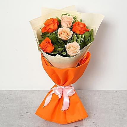 Bouquet of Peach and Orange Roses