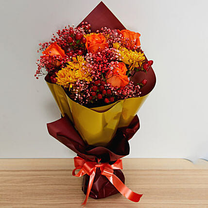 Orange & Red Flowers Bouquet:Send Chinese New Year Gifts to Singapore