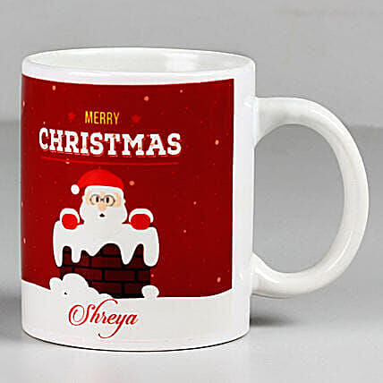 Personalised Merry Christmas Santa White Mug